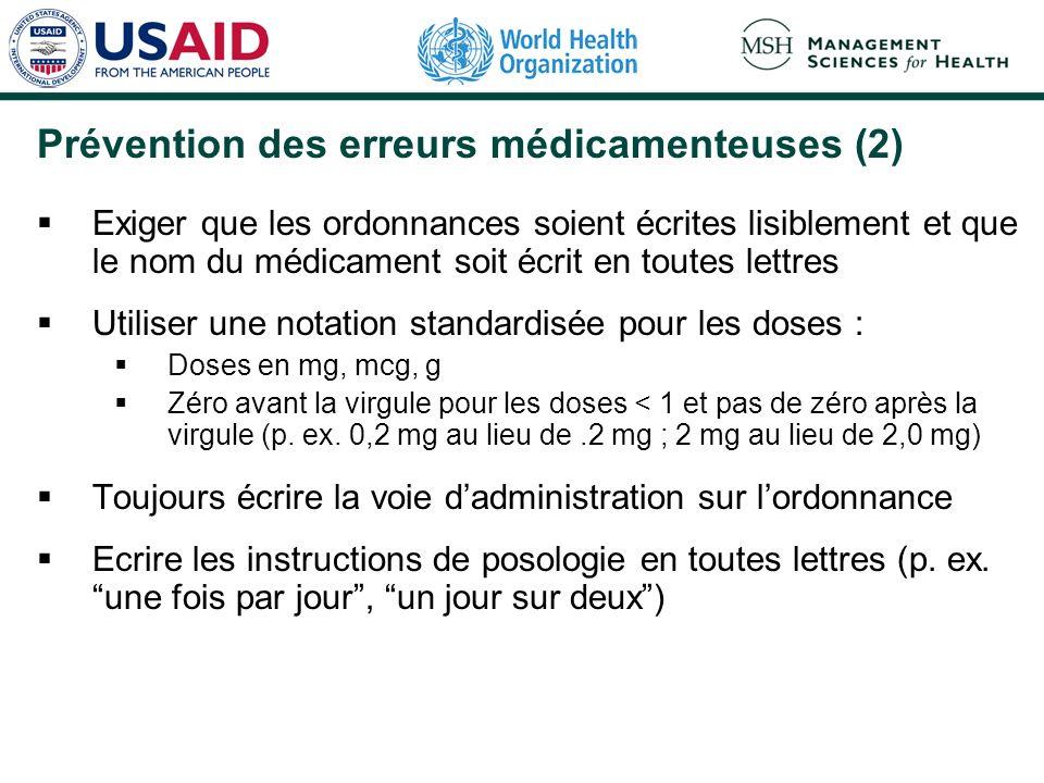 Prévention des erreurs médicamenteuses (2)