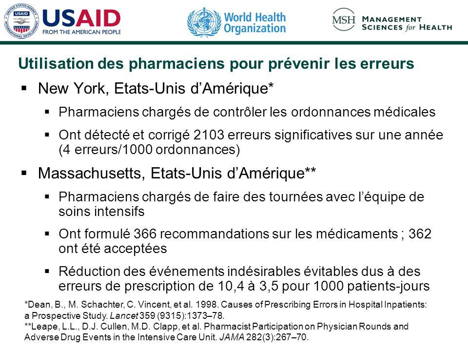 Utilisation des pharmaciens pour prévenir les erreurs