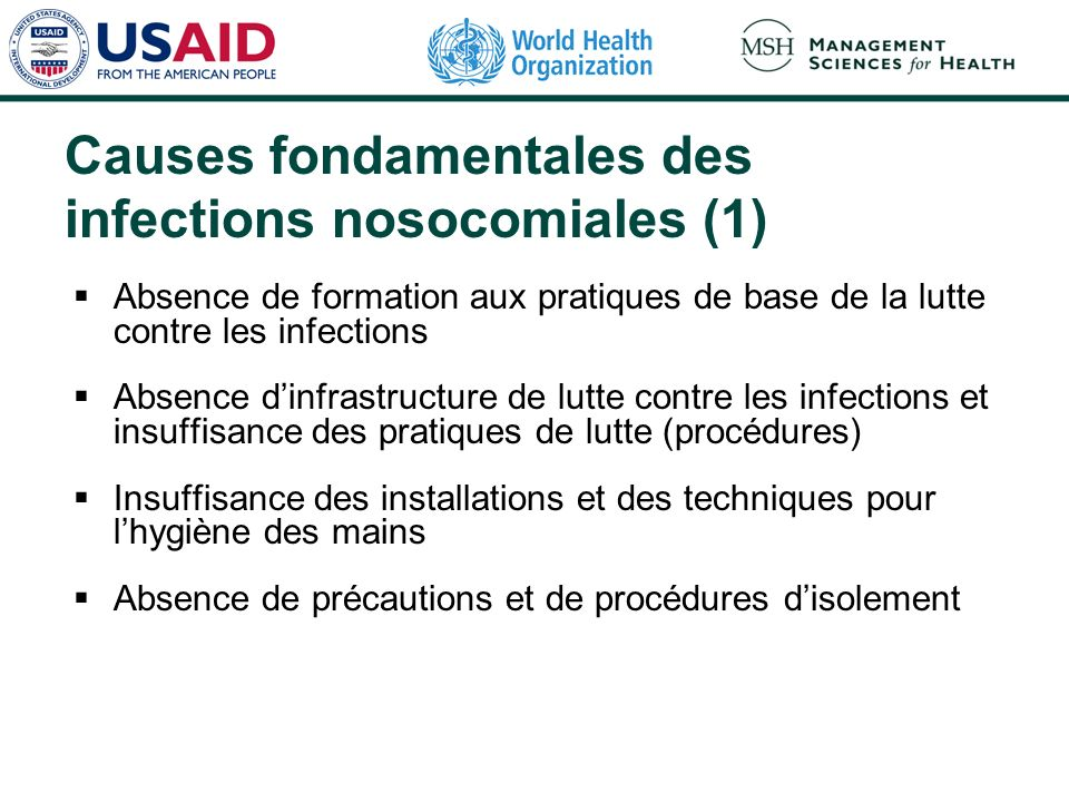 Causes fondamentales des infections nosocomiales (1)