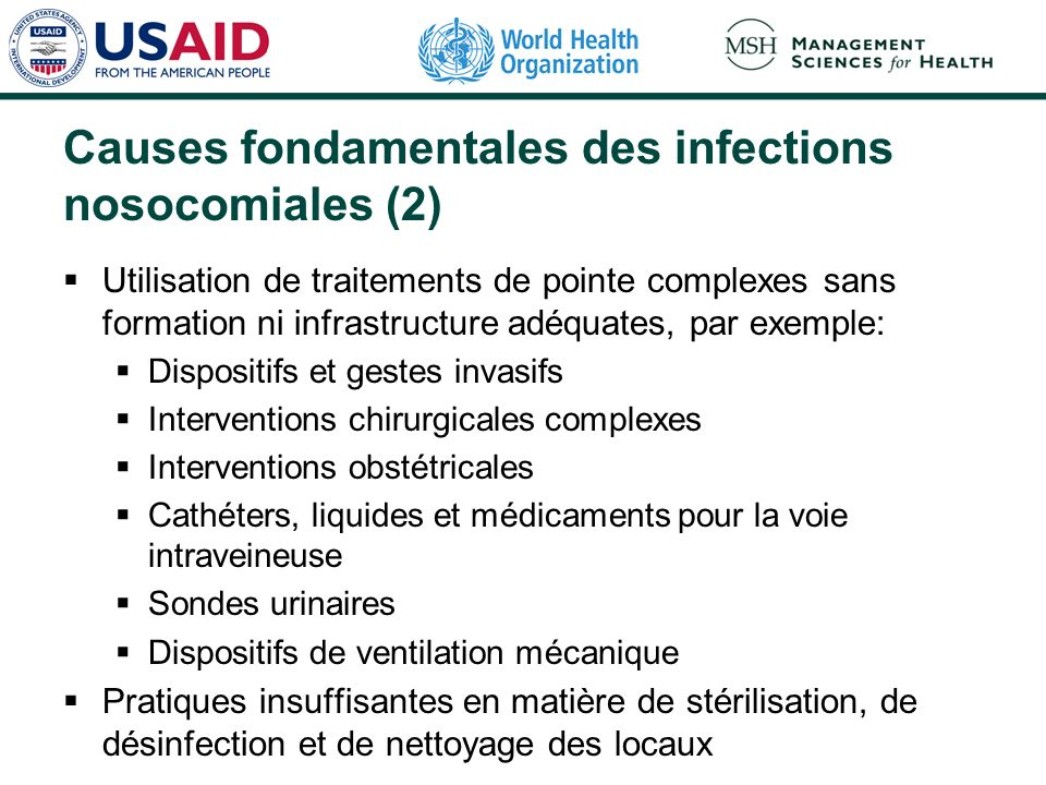 Causes fondamentales des infections nosocomiales (2)
