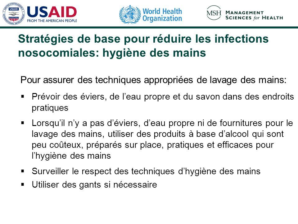 Stratégies de base pour réduire les infections nosocomiales: hygiène des mains