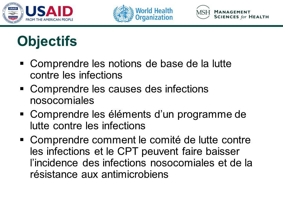 Objectifs Comprendre les notions de base de la lutte contre les infections. Comprendre les causes des infections nosocomiales.