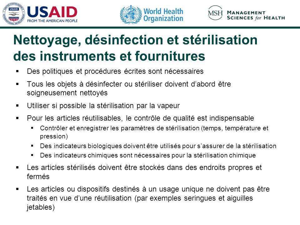 Nettoyage, désinfection et stérilisation des instruments et fournitures