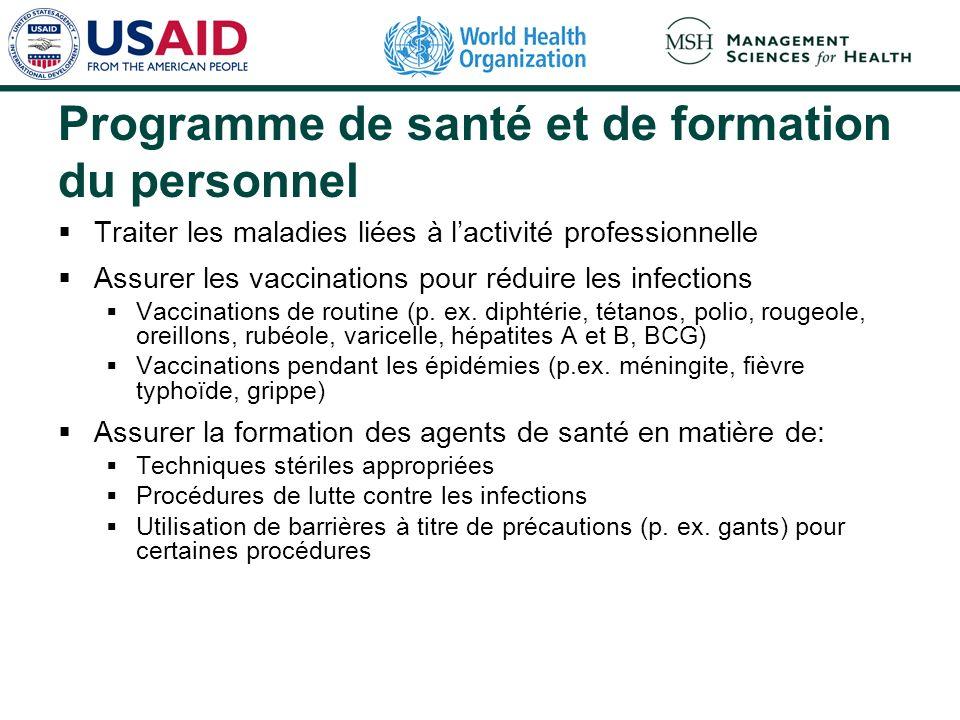 Programme de santé et de formation du personnel