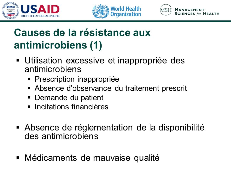 Causes de la résistance aux antimicrobiens (1)
