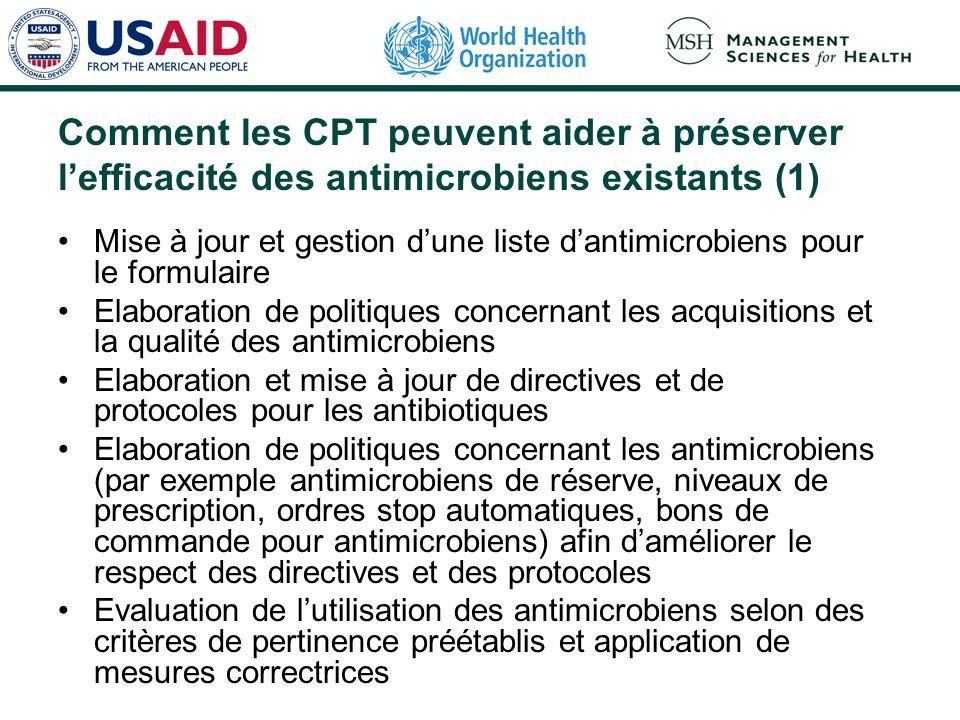 Comment les CPT peuvent aider à préserver l'efficacité des antimicrobiens existants (1)