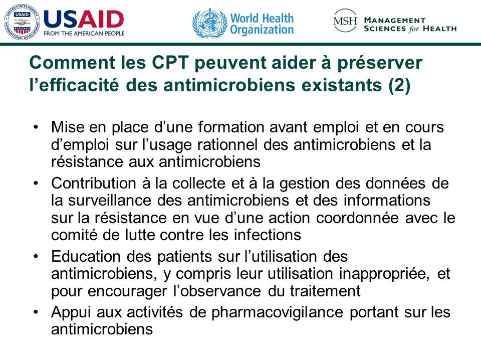 Comment les CPT peuvent aider à préserver l'efficacité des antimicrobiens existants (2)