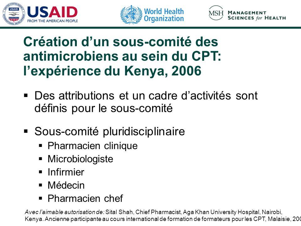 Création d'un sous-comité des antimicrobiens au sein du CPT: l'expérience du Kenya, 2006
