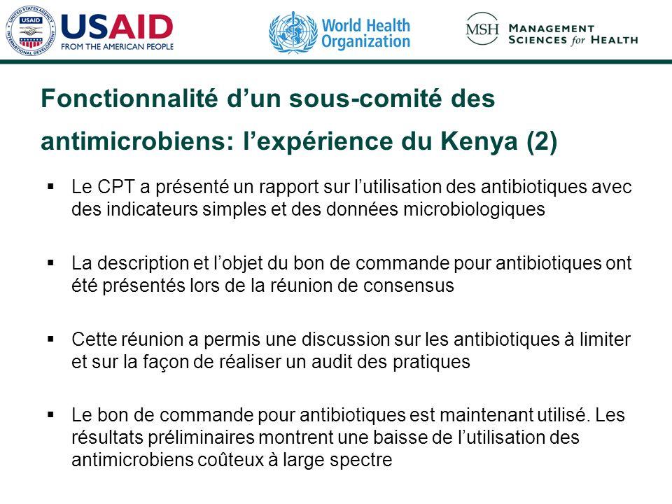 Fonctionnalité d'un sous-comité des antimicrobiens: l'expérience du Kenya (2)