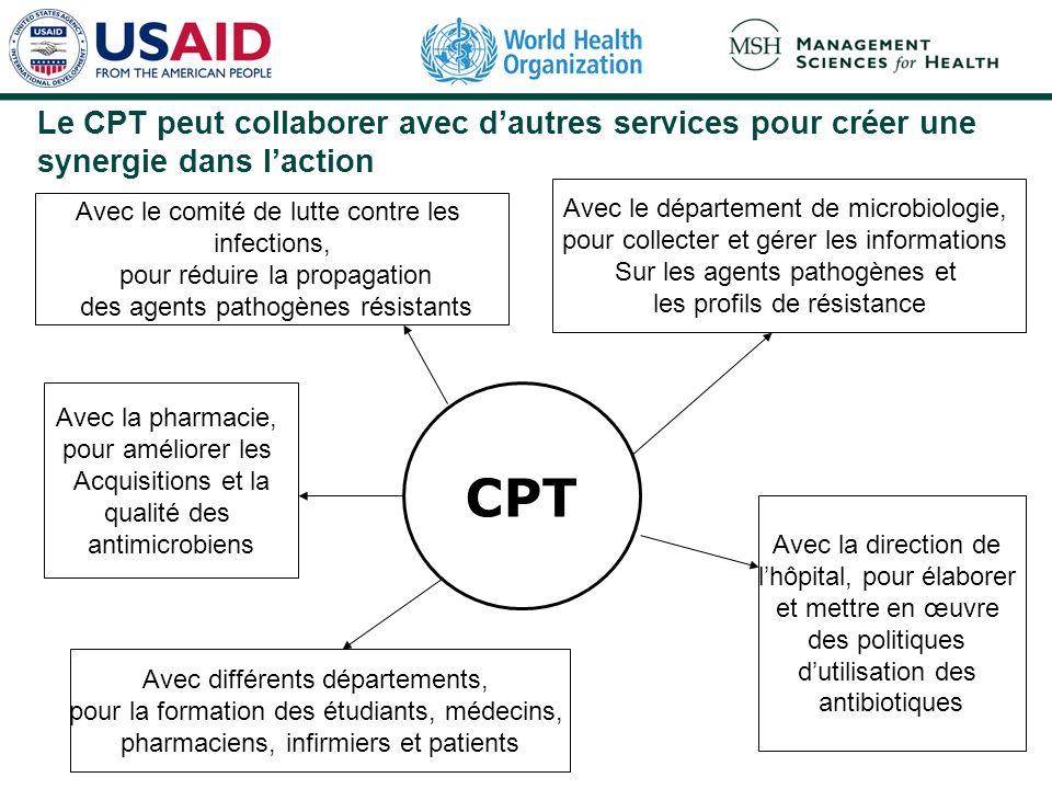 Le CPT peut collaborer avec d'autres services pour créer une synergie dans l'action