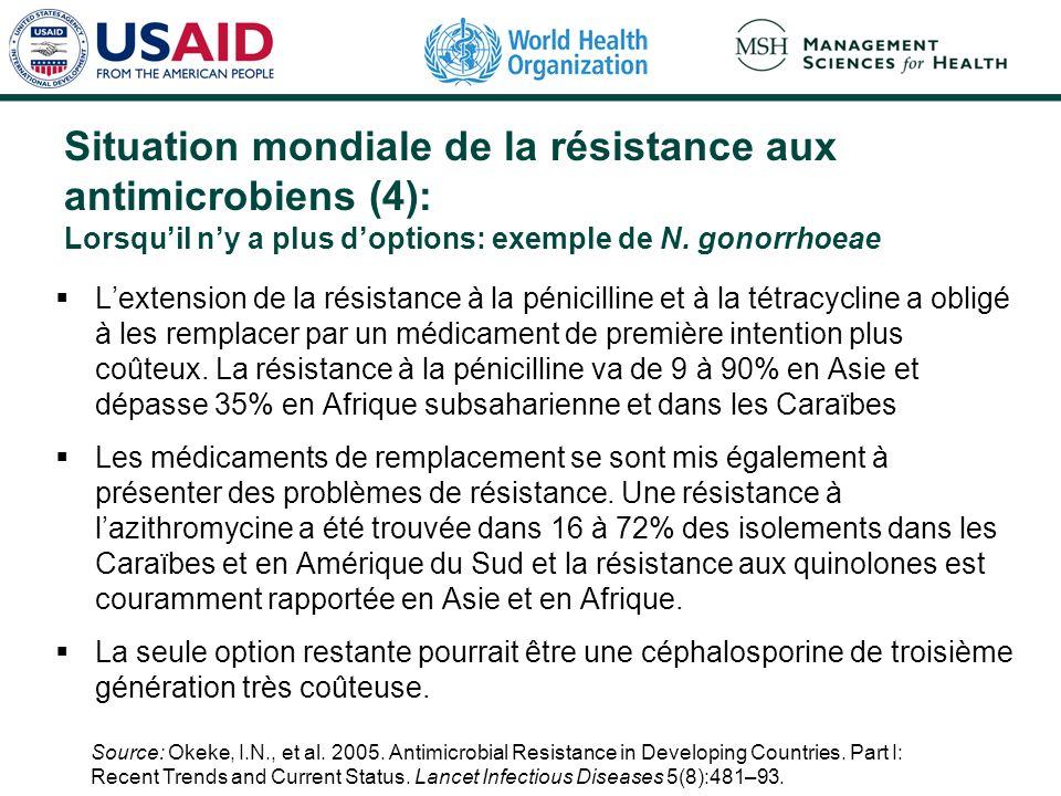 Situation mondiale de la résistance aux antimicrobiens (4): Lorsqu'il n'y a plus d'options: exemple de N. gonorrhoeae