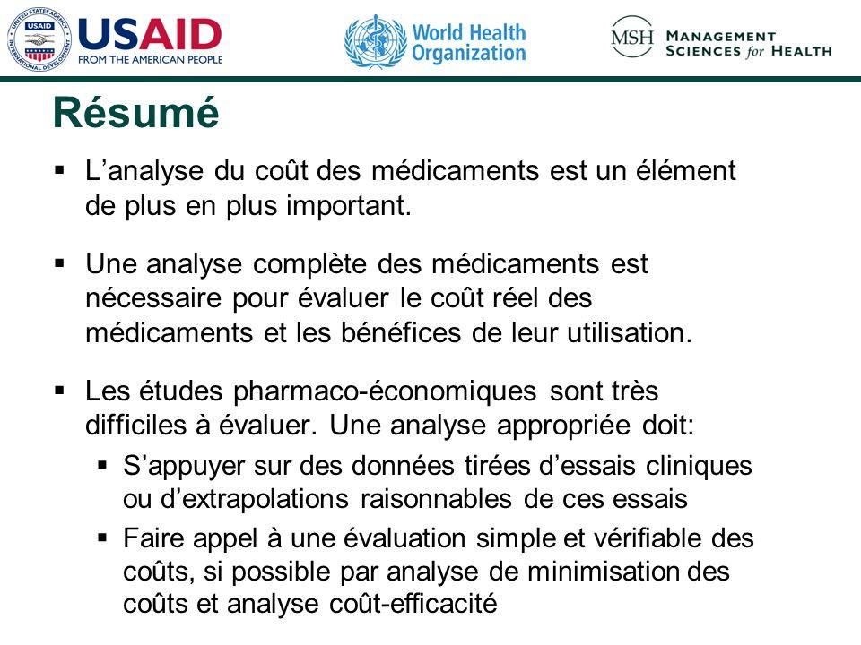 RésuméL'analyse du coût des médicaments est un élément de plus en plus important.