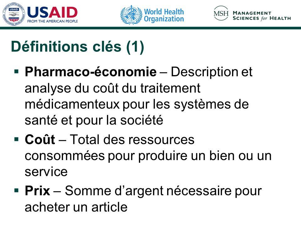Définitions clés (1)Pharmaco-économie – Description et analyse du coût du traitement médicamenteux pour les systèmes de santé et pour la société.