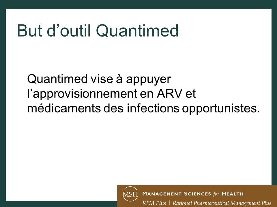But d'outil Quantimed Quantimed vise à appuyer l'approvisionnement en ARV et médicaments des infections opportunistes.
