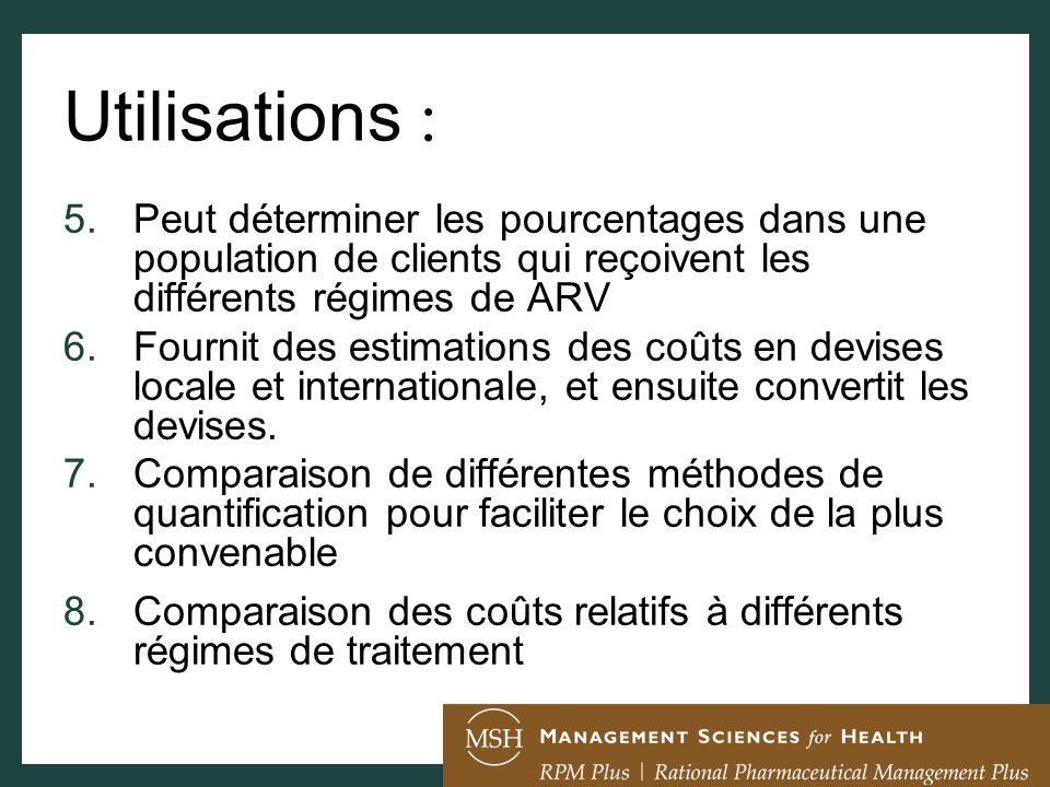 Utilisations :Peut déterminer les pourcentages dans une population de clients qui reçoivent les différents régimes de ARV.
