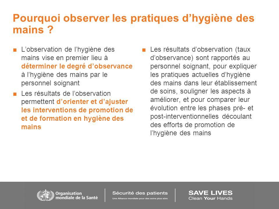Pourquoi observer les pratiques d'hygiène des mains