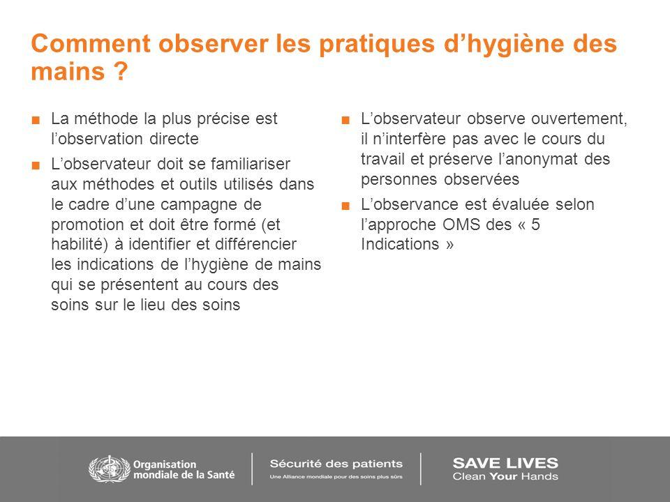 Comment observer les pratiques d'hygiène des mains