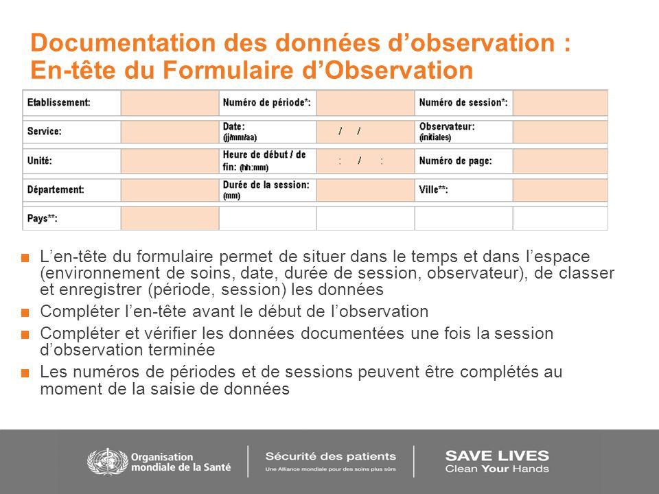 Documentation des données d'observation : En-tête du Formulaire d'Observation