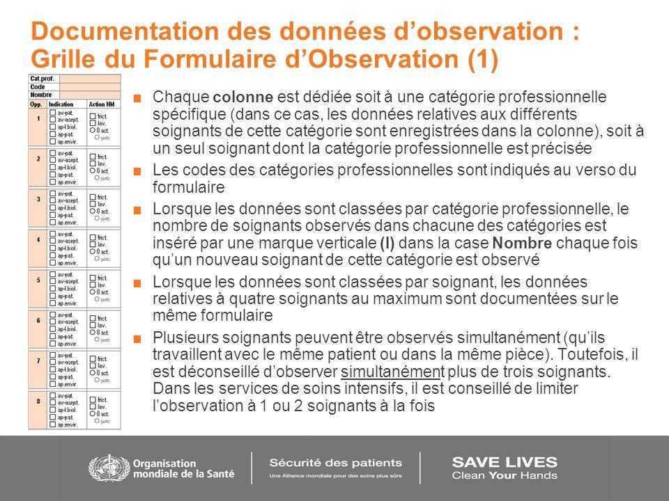 Documentation des données d'observation : Grille du Formulaire d'Observation (1)
