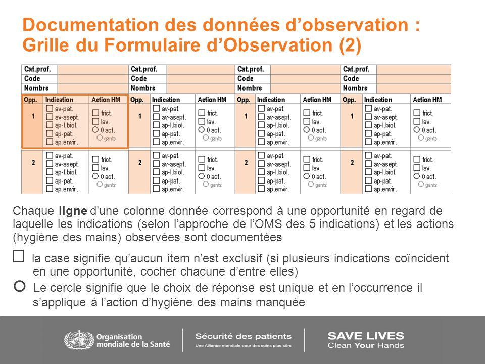 Documentation des données d'observation : Grille du Formulaire d'Observation (2)