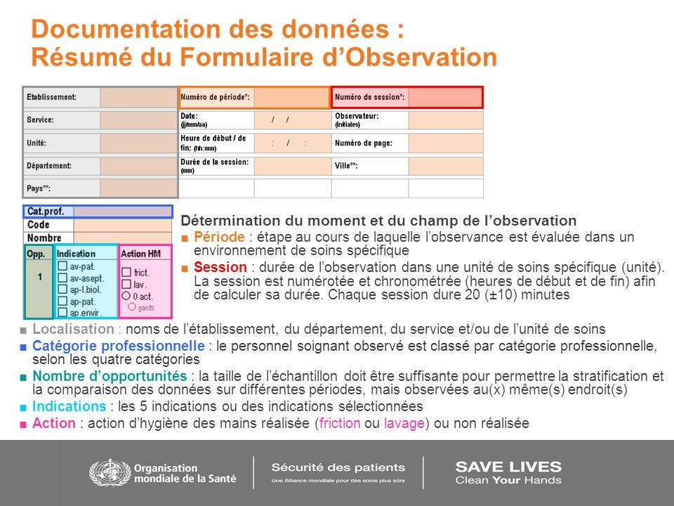 Documentation des données : Résumé du Formulaire d'Observation