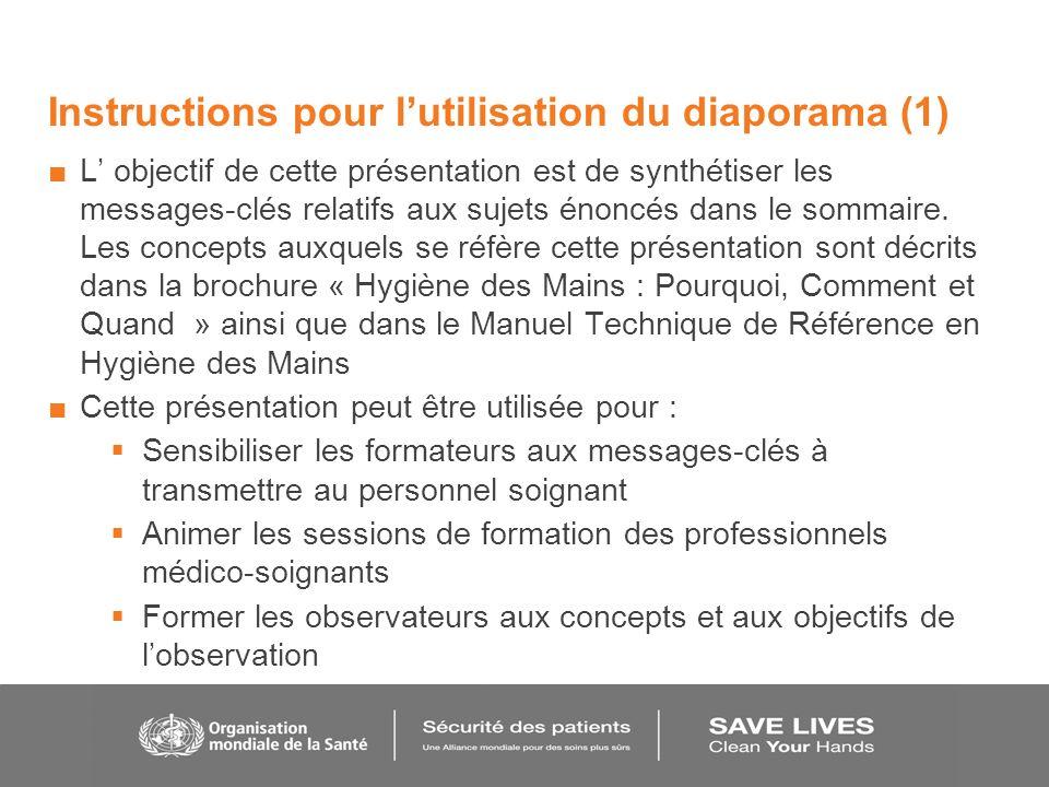 Instructions pour l'utilisation du diaporama (1)