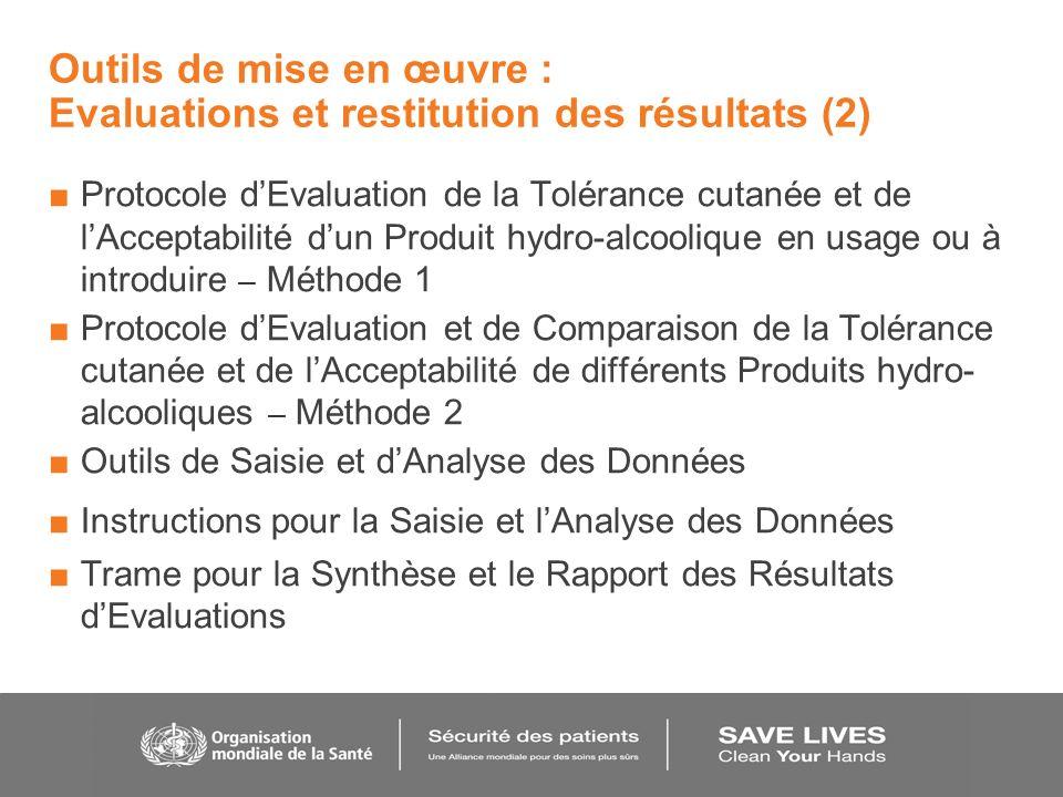 Outils de mise en œuvre : Evaluations et restitution des résultats (2)