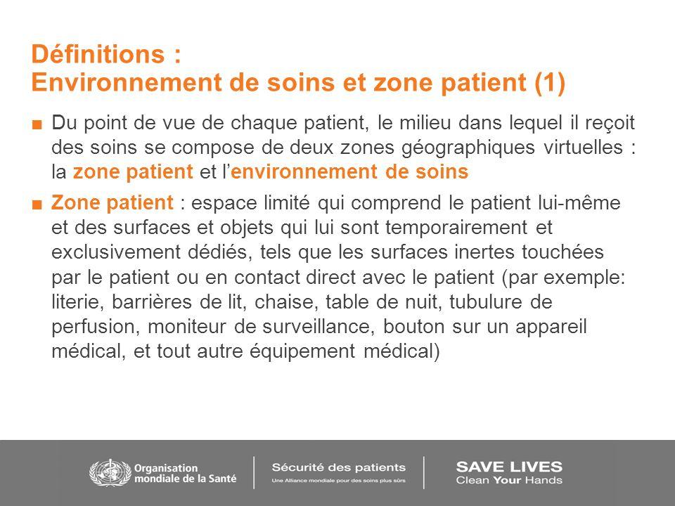 Définitions : Environnement de soins et zone patient (1)
