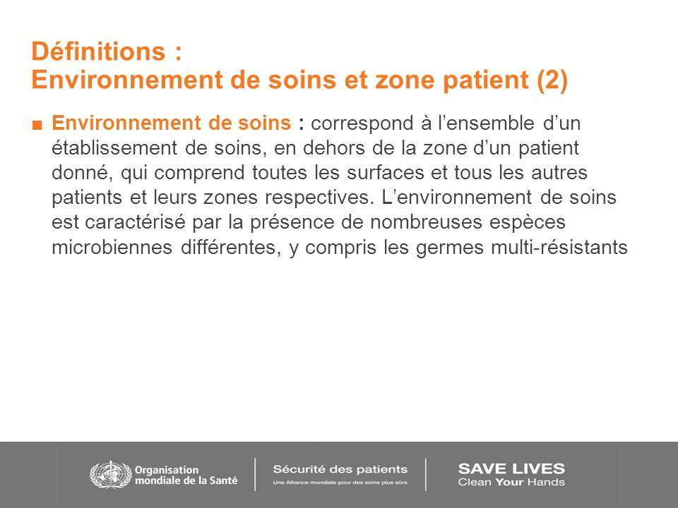 Définitions : Environnement de soins et zone patient (2)