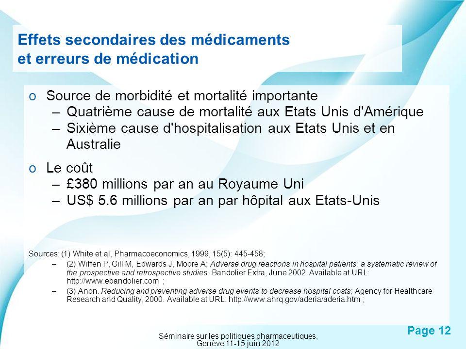 Effets secondaires des médicaments et erreurs de médication