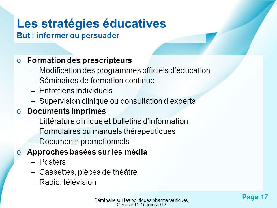 Les stratégies éducatives But : informer ou persuader