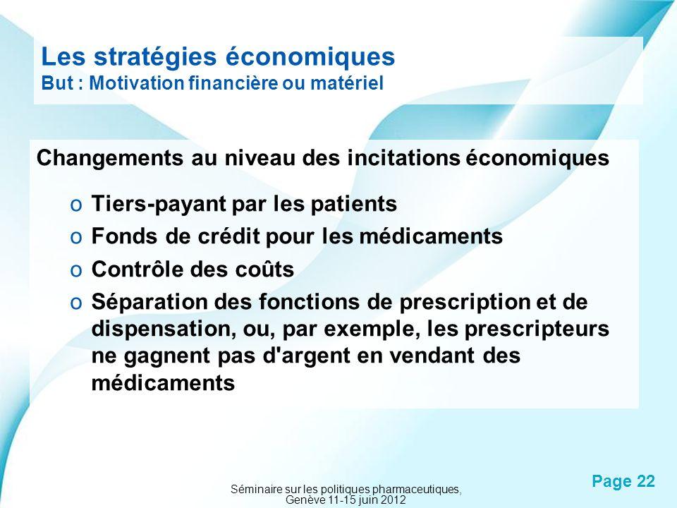 Les stratégies économiques But : Motivation financière ou matériel