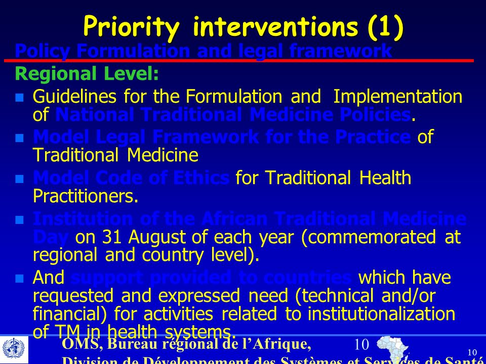 Priority interventions (1)