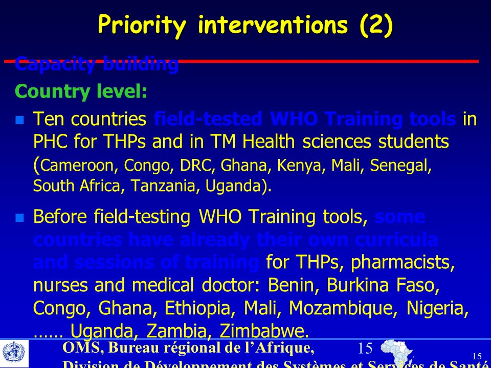Priority interventions (2)
