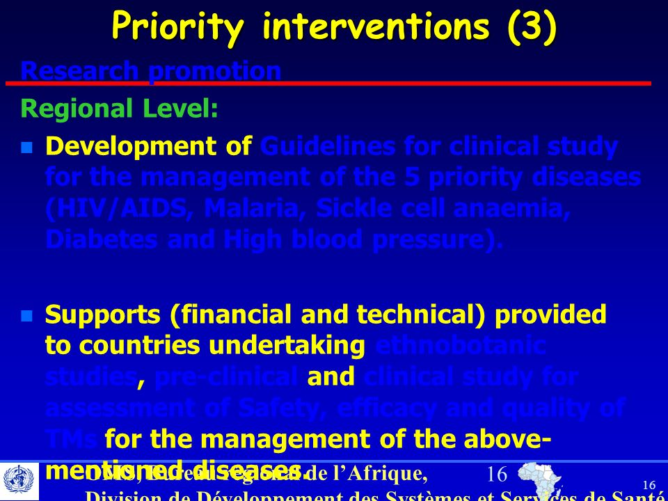 Priority interventions (3)