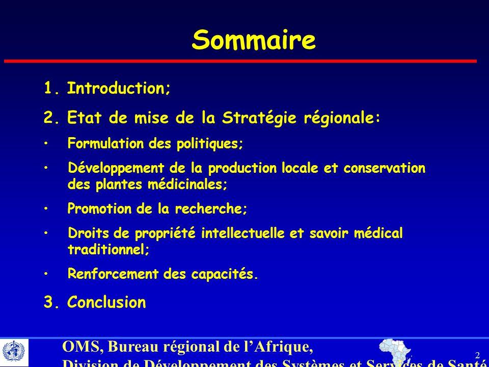 Sommaire 1. Introduction; 2. Etat de mise de la Stratégie régionale: