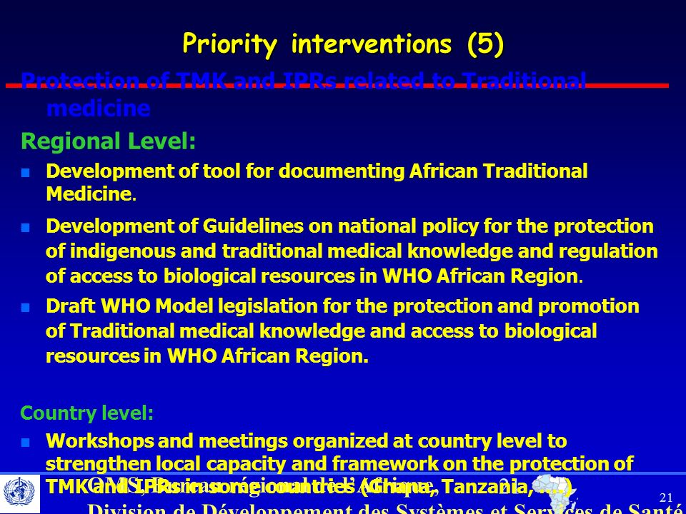 Priority interventions (5)