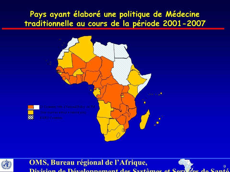 Pays ayant élaboré une politique de Médecine traditionnelle au cours de la période 2001-2007