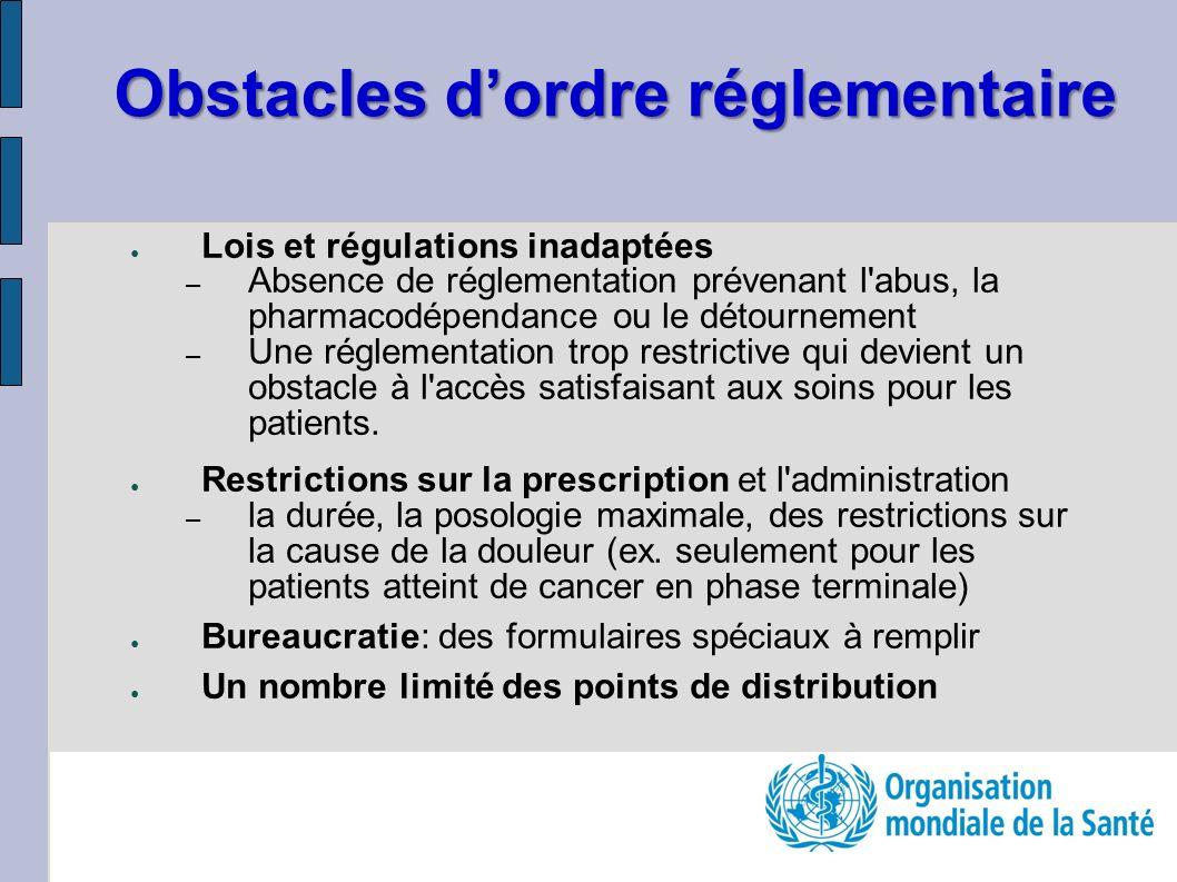 Obstacles d'ordre réglementaire