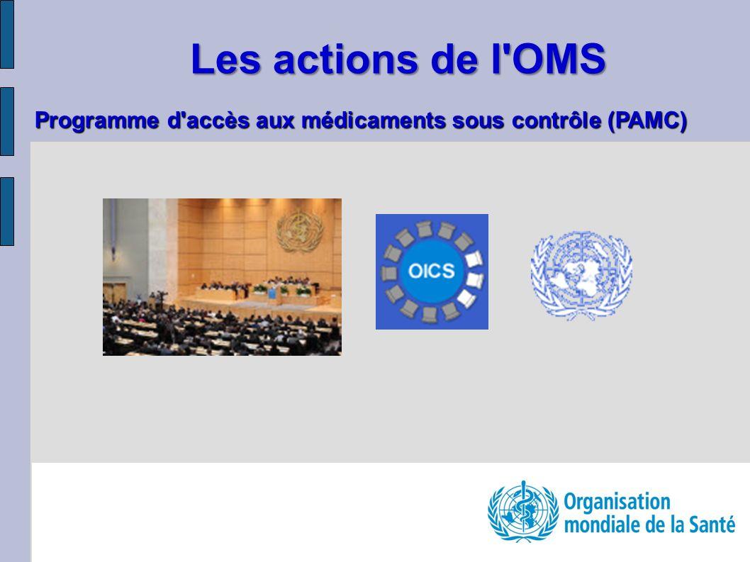 Les actions de l OMS Programme d accès aux médicaments sous contrôle (PAMC)