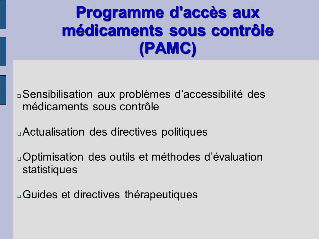 Programme d accès aux médicaments sous contrôle (PAMC)