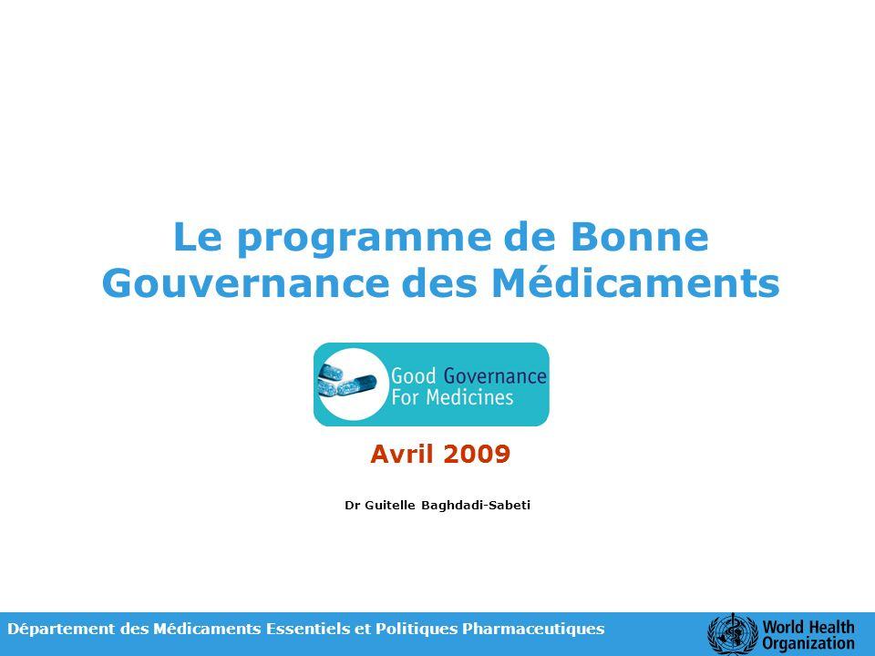 Le programme de Bonne Gouvernance des Médicaments