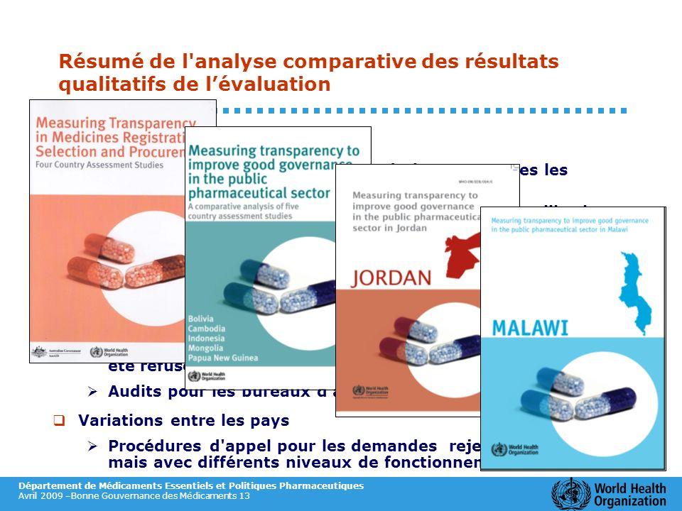 Résumé de l analyse comparative des résultats qualitatifs de l'évaluation