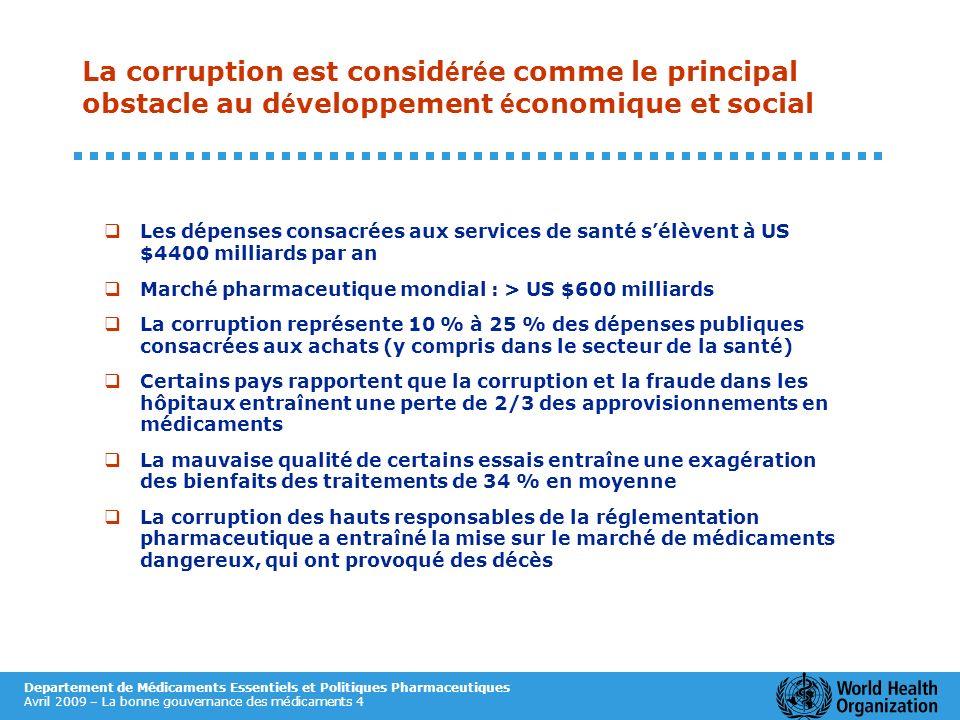 La corruption est considérée comme le principal obstacle au développement économique et social