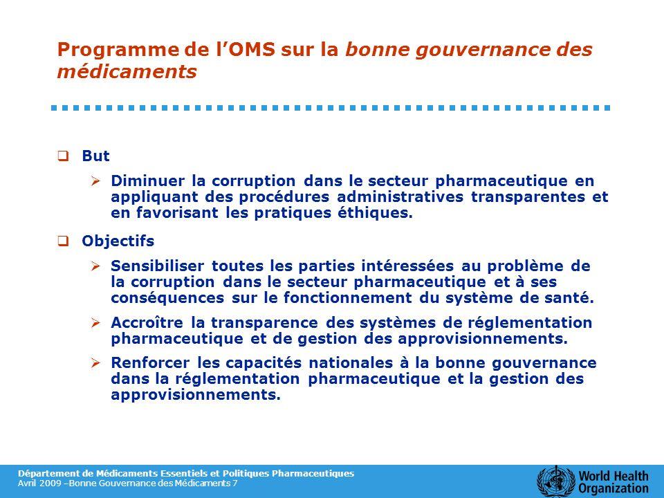 Programme de l'OMS sur la bonne gouvernance des médicaments