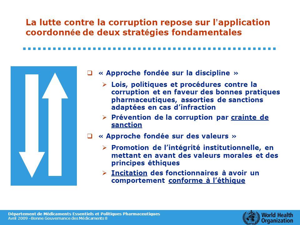 La lutte contre la corruption repose sur l'application coordonnée de deux stratégies fondamentales