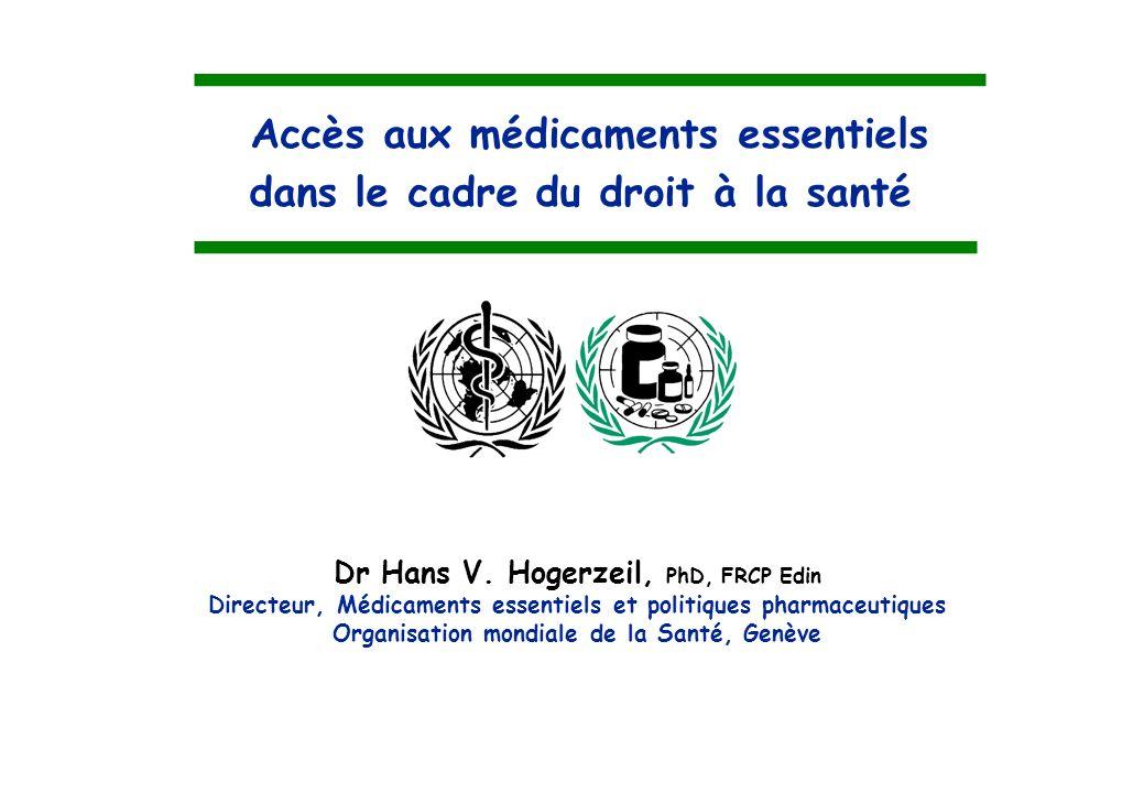 Accès aux médicaments essentiels dans le cadre du droit à la santé
