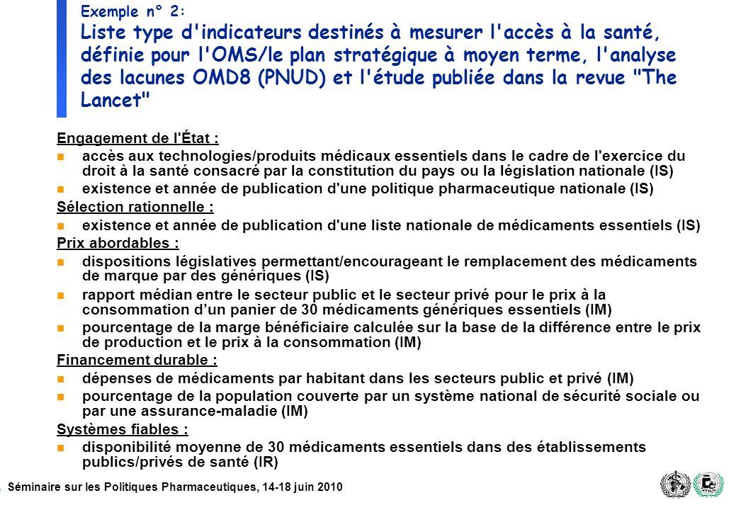 Exemple n° 2: Liste type d indicateurs destinés à mesurer l accès à la santé, définie pour l OMS/le plan stratégique à moyen terme, l analyse des lacunes OMD8 (PNUD) et l étude publiée dans la revue The Lancet
