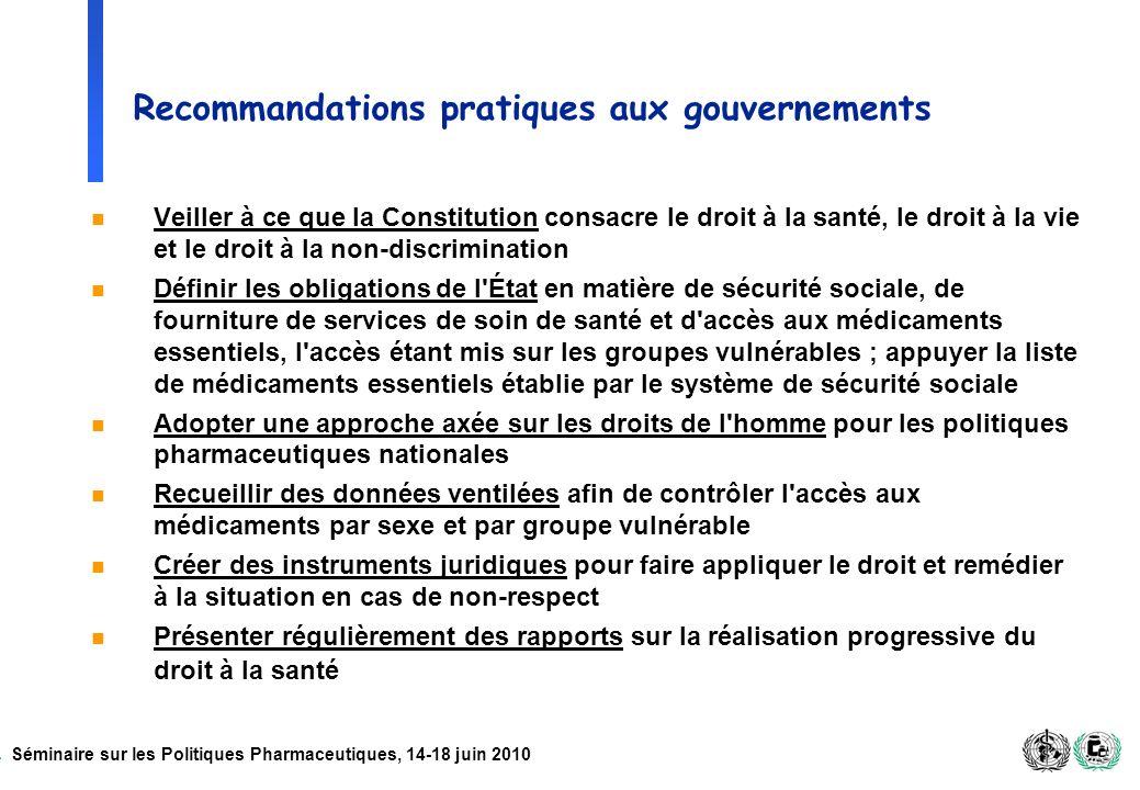 Recommandations pratiques aux gouvernements