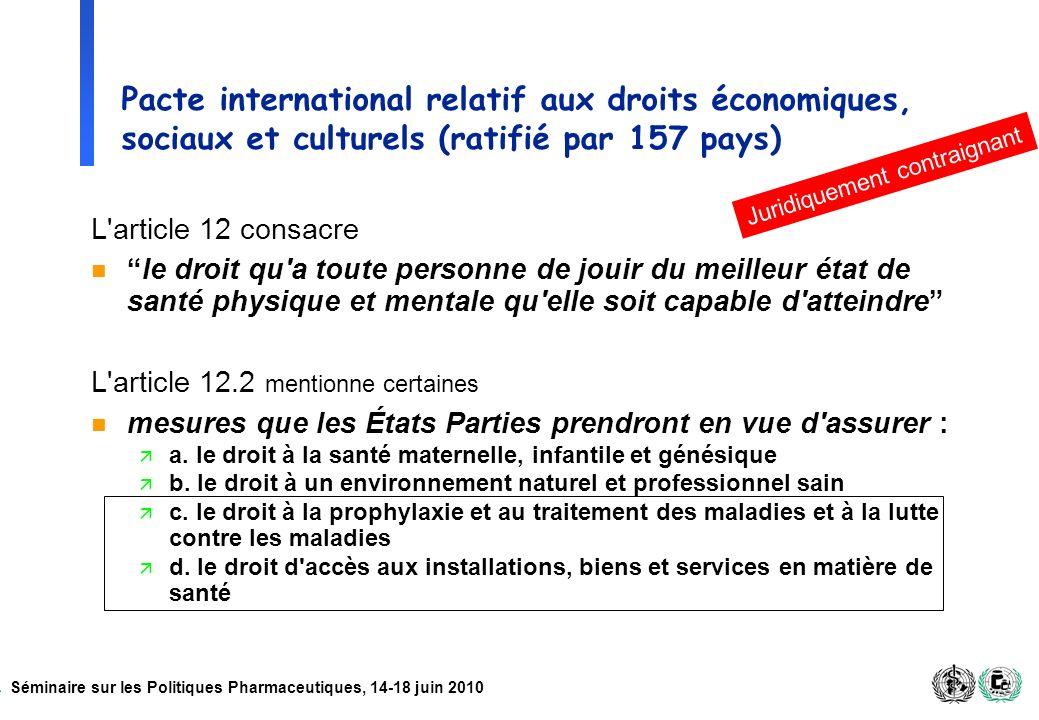Pacte international relatif aux droits économiques, sociaux et culturels (ratifié par 157 pays)